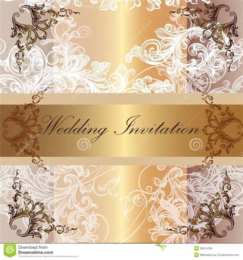 wedding invitation card in pastel and golden colors stock