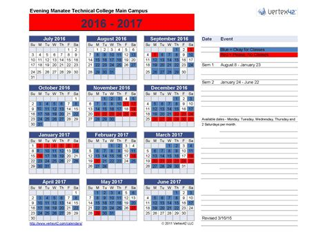 Tech Calendar Student Calendar Manatee Technical College