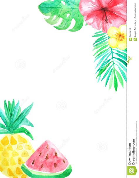 watercolor tropical card template stock illustration