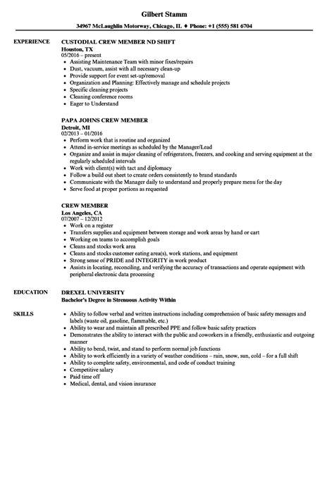 Crew Resume by Crew Member Resume Sles Velvet