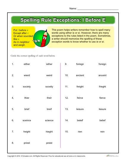 pattern quantification exception definition spelling rule exceptions worksheets i before e