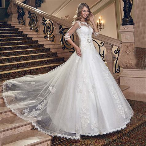 pattern for lace up back dress iiiusion half sleeves lace ball gown wedding dresses open