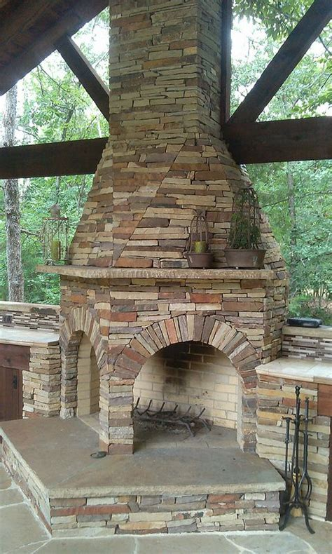 Outdoor Two Sided Fireplace by Sided Fireplace