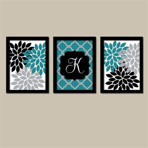 teal wall decor teal black wall flower wall bedroom canvas or prints