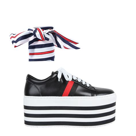 sneaker platforms holle lace up striped platform sneakers black in shoes