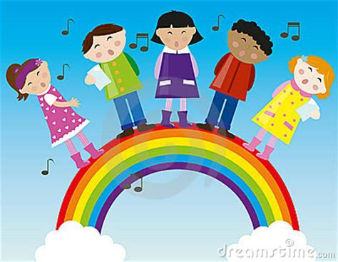 lagu anak anak judul laskar pelangi vocal max 5 ayo children singing on the rainbow vector stock photography