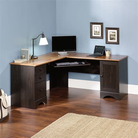 right corner computer desk harbor view corner computer desk 403794 sauder