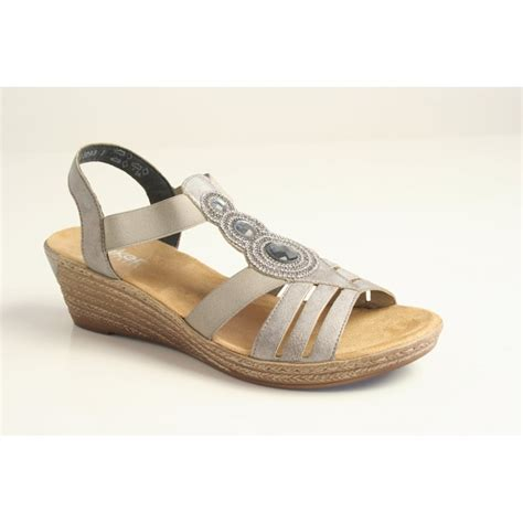 grey sandal wedges rieker rieker grey wedge sandal with detail and