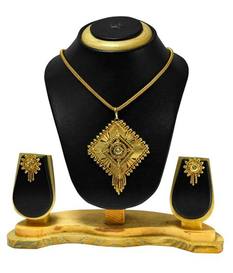 Abstra Set by Abstra Gold Plated Brass Pendant Set Buy Abstra Gold