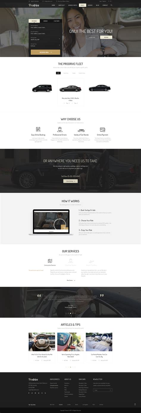 Limousine Transport by Prodrive Limousine Transport Car Hire Psd Template By