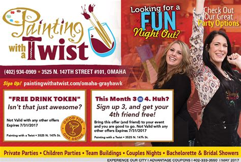coupon for paint with a twist entertainment savings in omaha with advantage