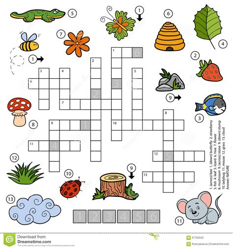 Vector Color Crossword For Children About Nature Stock