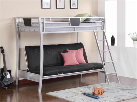 twin over futon bunk bed metal silver finish modern metal twin over futon bunk bed