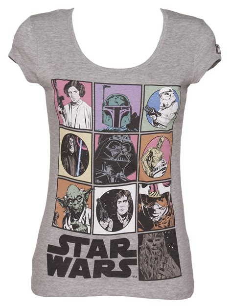 grey marl scoop neck wars characters t shirt truffleshuffle