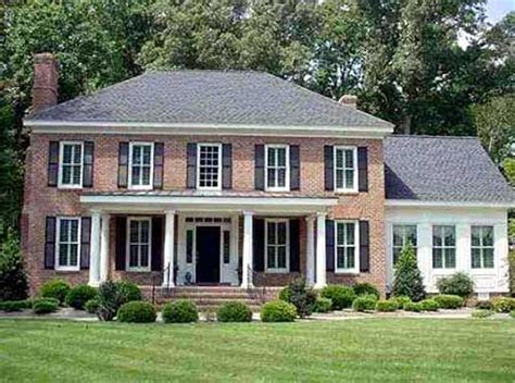brick colonial house plans master suite up or down