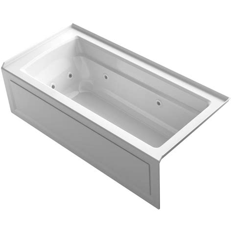 alcove whirlpool bathtub shop kohler archer white acrylic rectangular alcove