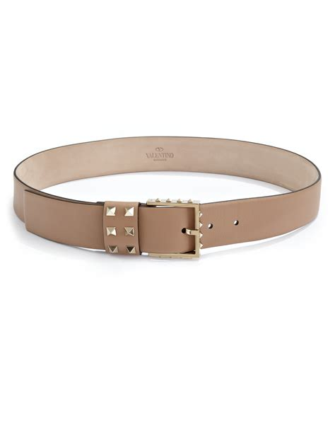 valentino studded leather belt in brown lyst