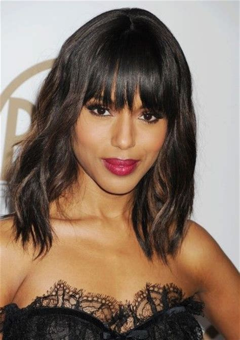 kerry washington hair pin up medium length hair with bangs by kerry washington
