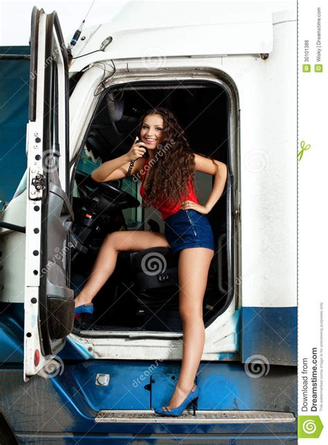 truck driver stock photo image  girl long truck