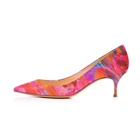 colorful pumps colorful abstract kitten heels pointy toe pumps by fsj