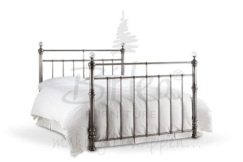 Brushed Metal Bed Frame Birlea Georgina 5ft King Size Brushed Nickel Metal Bed Frame With Crystals By Birlea