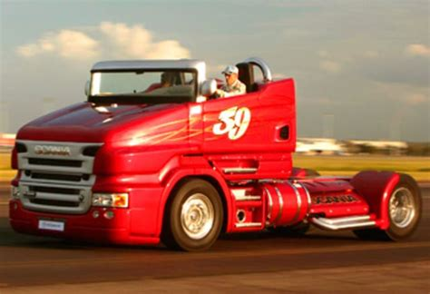 scania r999 rod truck races qantas plane at brisbane