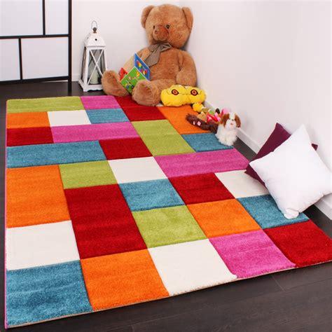 teppich kinder kinder teppich karo design multicolour gr 252 n rot grau
