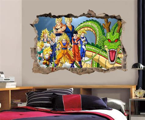 z room decor z wall decal removable wall sticker mural goku vegeta shenron h189 ebay