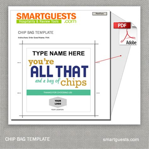 Chip Template chip bag card template
