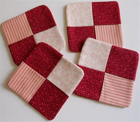 pattern fabric coasters quilted fabric coasters set of 4vintage reds