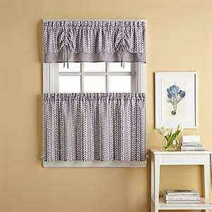 Grey Kitchen Curtains Bloom Window Curtain Tier Pair In Grey Bed Bath Beyond