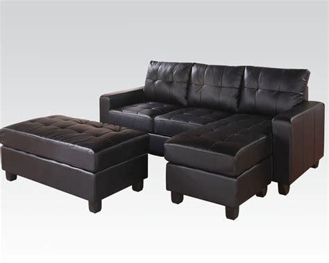 acme sectional sofa acme reversible sectional w ottoman lyssa black ac51215