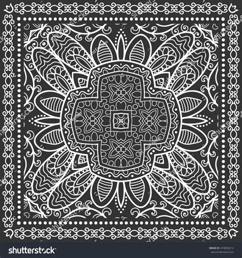 Pashmina Tribal Line black and white graphic background geometric lace pattern with frame tribal ethnic ornament