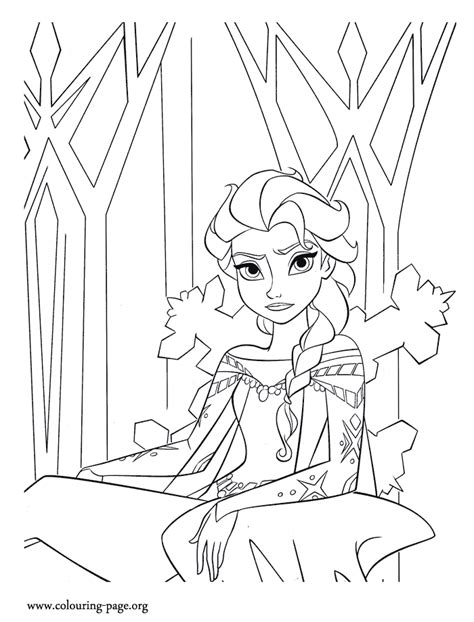 frozen coloring pages elsa ice castle frozen elsa in the ice castle coloring page