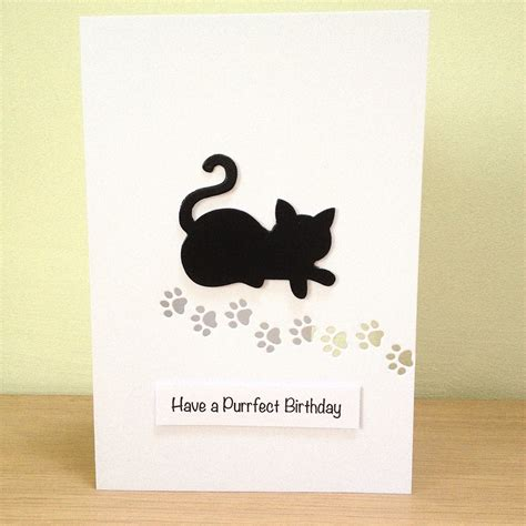 Handmade Cat Cards - cat purrfect birthday card cat birthday card by looksinviting