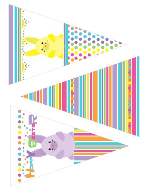 printable easter banner bunny rainbow stripe party supplies printable best gift