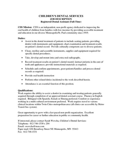 Registered Duties Resume by Dental Assistant Description