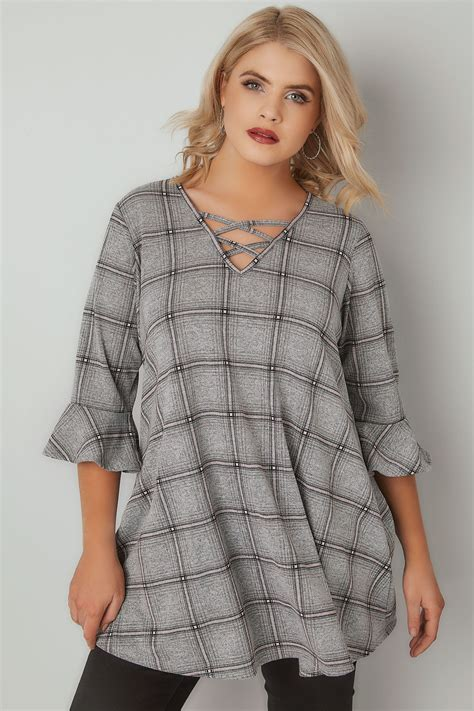 Where Can I Use A Target Visa Gift Card - grey pink checked longline swing top with flute sleeves plus size 16 to 36