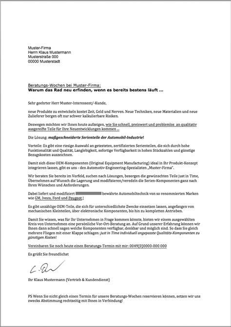 Brief Anfrage Angebot Verk 228 Ufe Steigern Kundenanschreiben Vom Texter