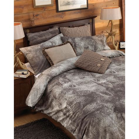 fur bedding sets riva home alaska faux wolf fur print duvet comforter set
