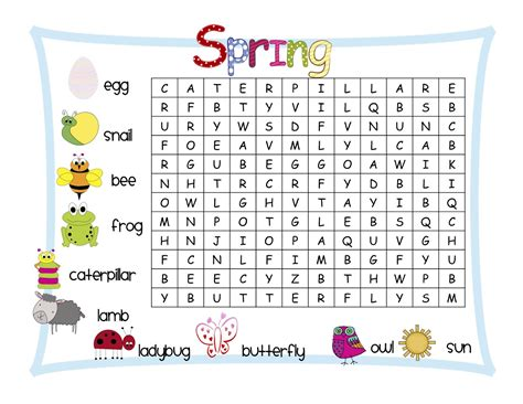 printable word search about spring classroom freebies spring word search