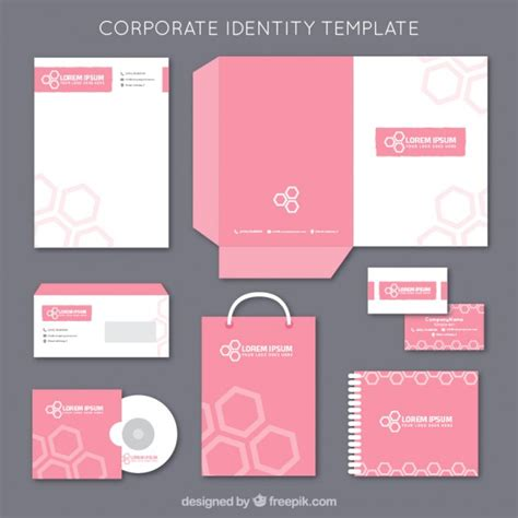 corporate identity card template psd pink corporate identity template vector free