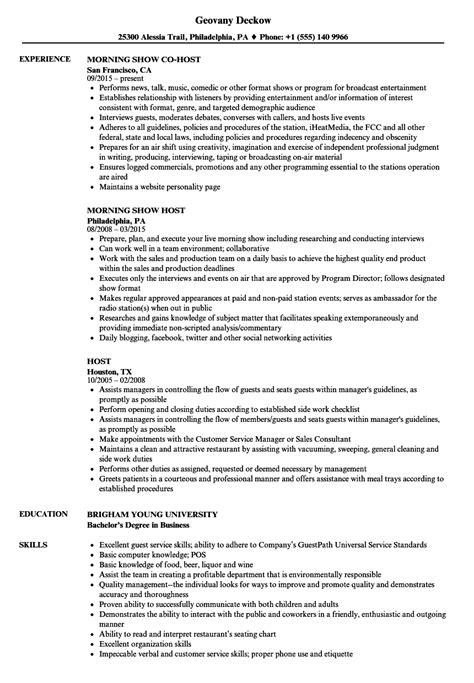 Host Resume by Host Resume Sles Velvet