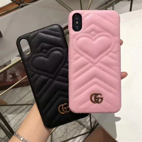 gucci leather heart phone case cover  iphone