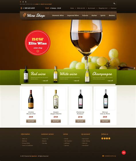 Wine Shop Opencart Template 45066 Free Wine Website Templates