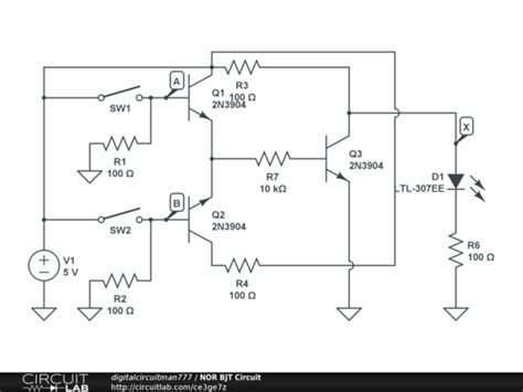 transistor nor gate circuit nor bjt circuit circuitlab