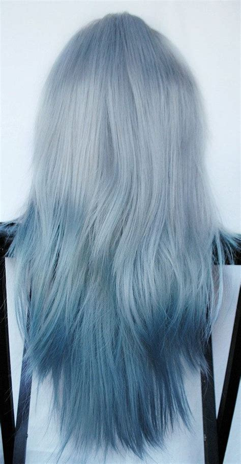 silver blue color sale arctic fox wig ombre silver blue by