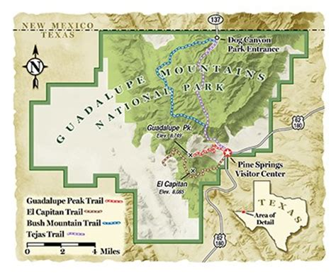 texas mountain ranges map plan a visit to the guadalupe mountains national park in texas