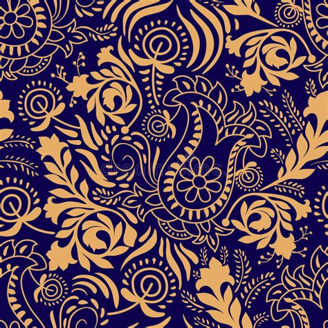 2 color pattern vector floral seamless pattern paisley background in two colors