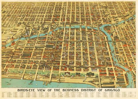 map chicago business district aerial early 1900s